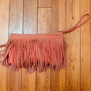 Fabric and suede fringe wristlet American Eagle